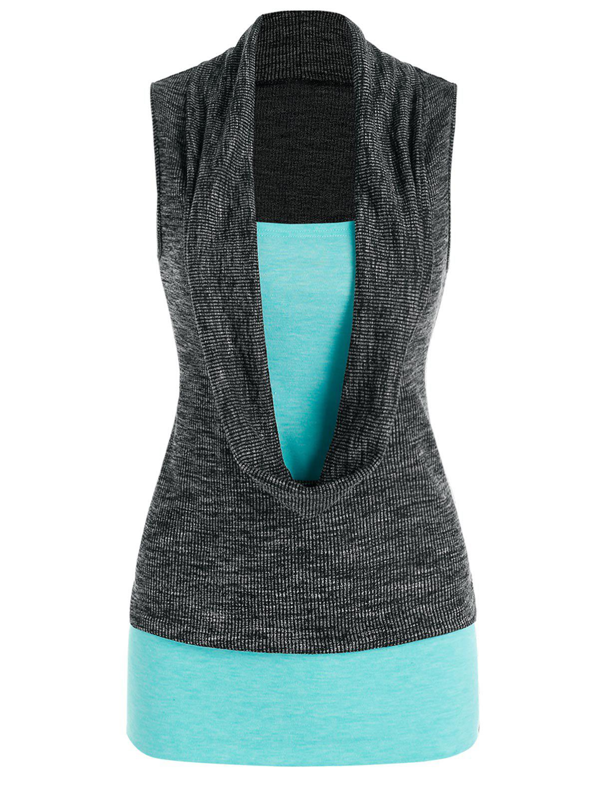 Heathered Cowl Front 2 in 1 Tank Top - multicolor A XL