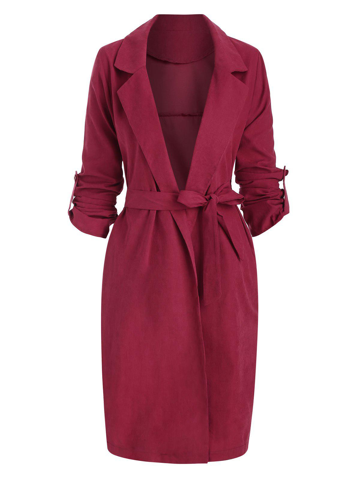 Side Slit Roll Sleeve Wrap Trench Coat - RED S
