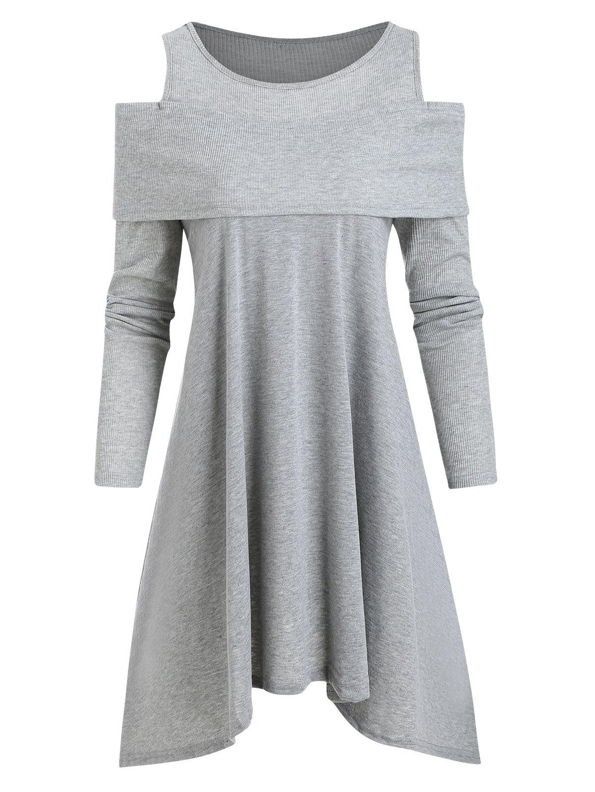 Ribbed Panel Jersey Cold Shoulder Asymmetrical Tunic Top - GRAY L