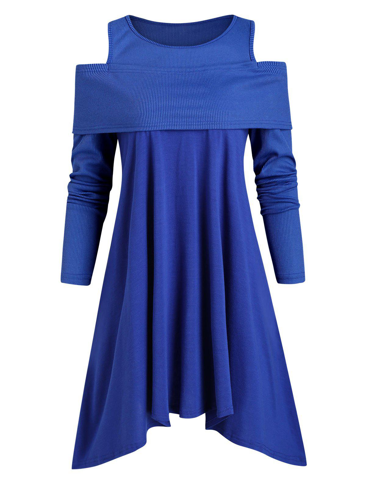 Ribbed Panel Jersey Cold Shoulder Asymmetrical Tunic Top - BLUE M