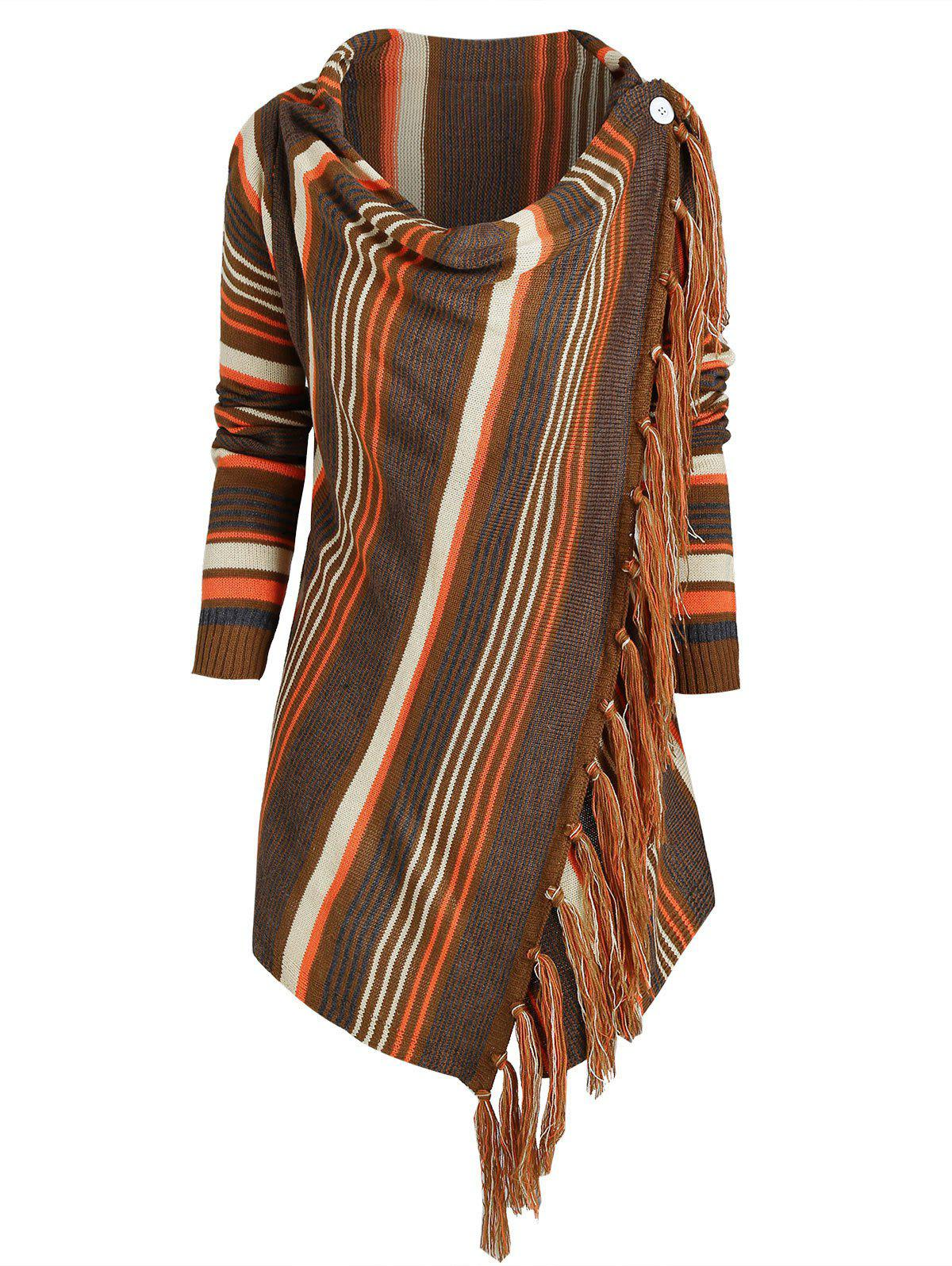 Cowl Neck Striped Fringed Convertible Sweater - DEEP COFFEE M