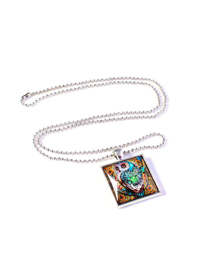 Colored Painting Owl Geo Pendant Necklace - SILVER