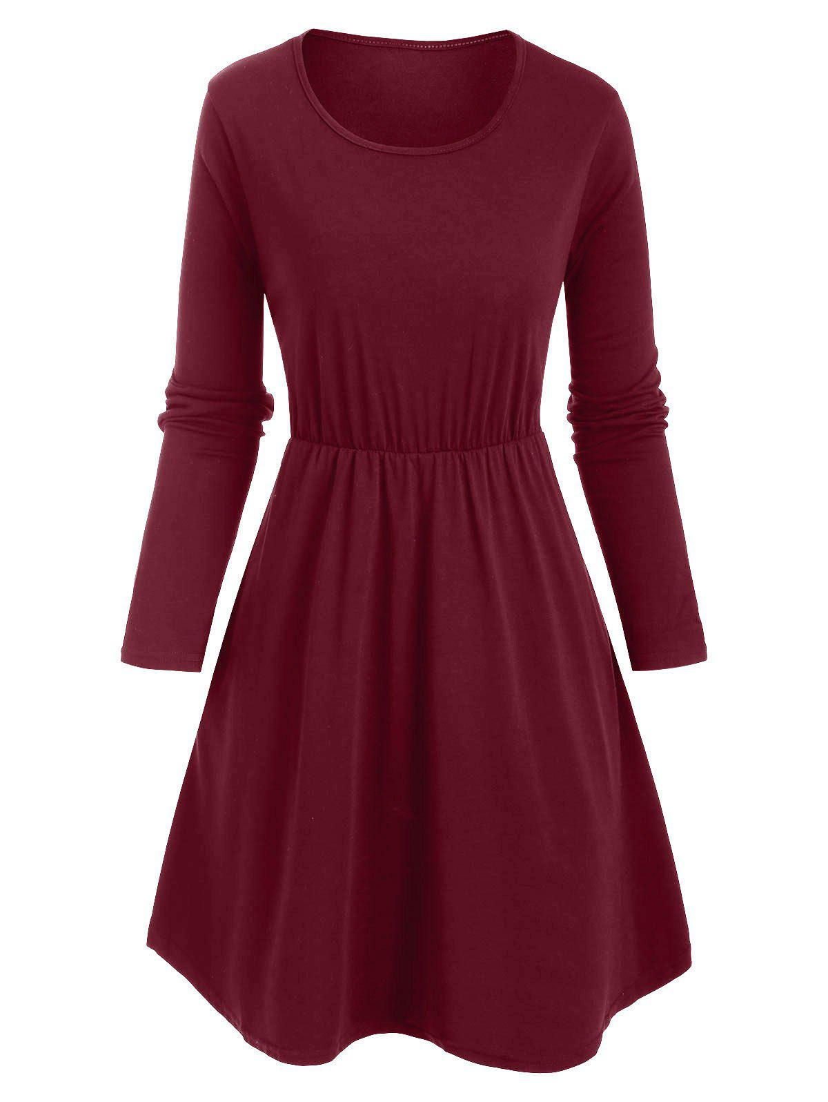 Slip Pockets Long Sleeve Tunic Dress - DEEP RED M