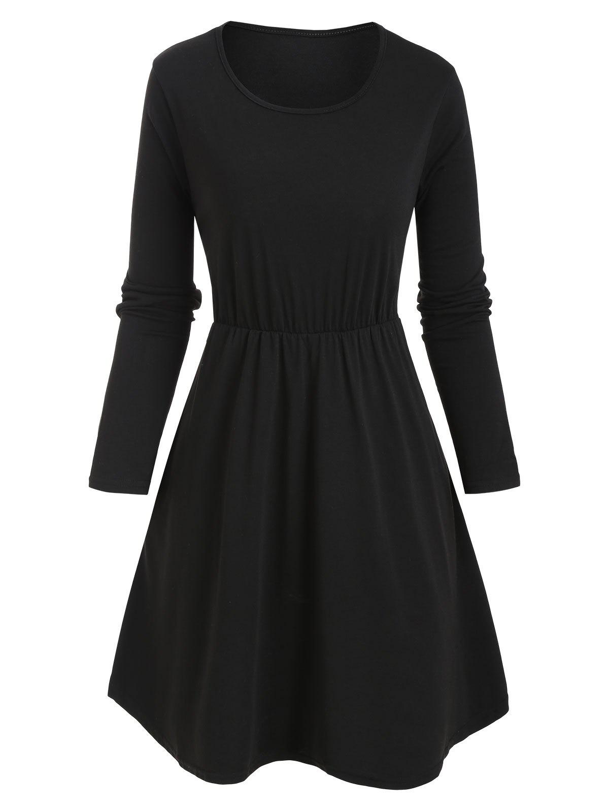 Slip Pockets Long Sleeve Tunic Dress - BLACK M