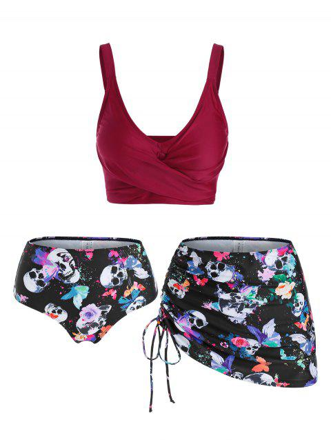 Skull Butterfly Flower Print Padded Three Piece Tankini Swimsuit