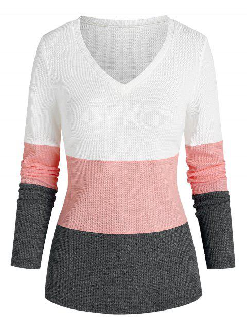 V Neck Contrast Knit Sweater