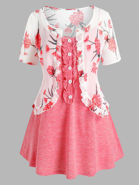 Plus Size Chiffon Flower Top with Cami Top Set