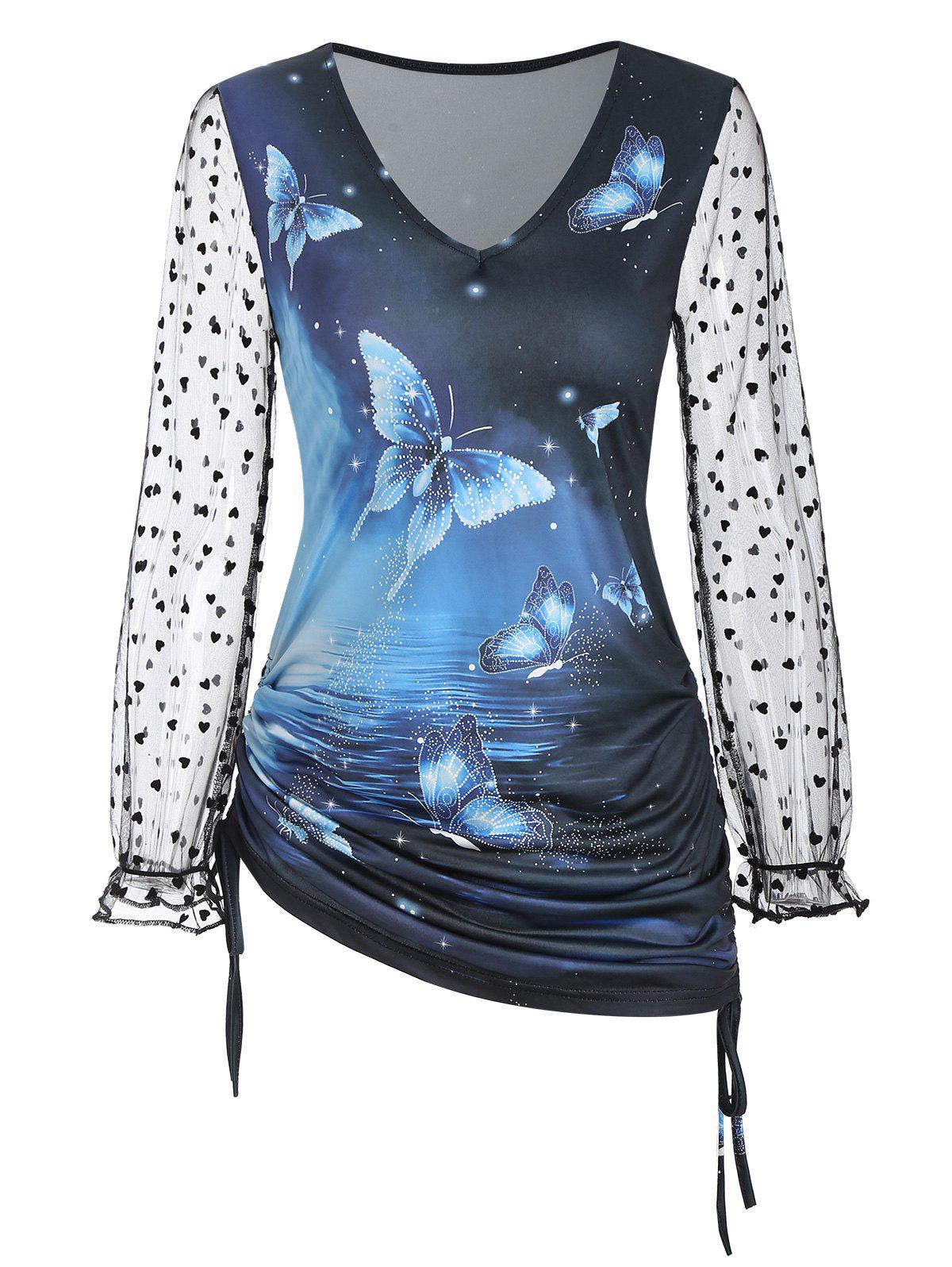 Side Cinched Ruched Butterfly Print Heart Mesh Sleeves Top - BLUE XXXL