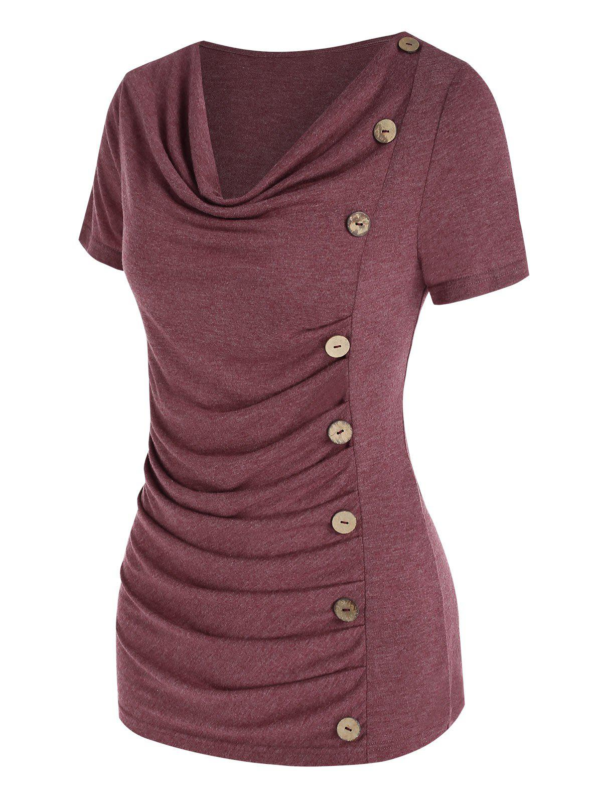 Cowl Neck Ruched Button Asymmetrical T Shirt - DEEP RED M