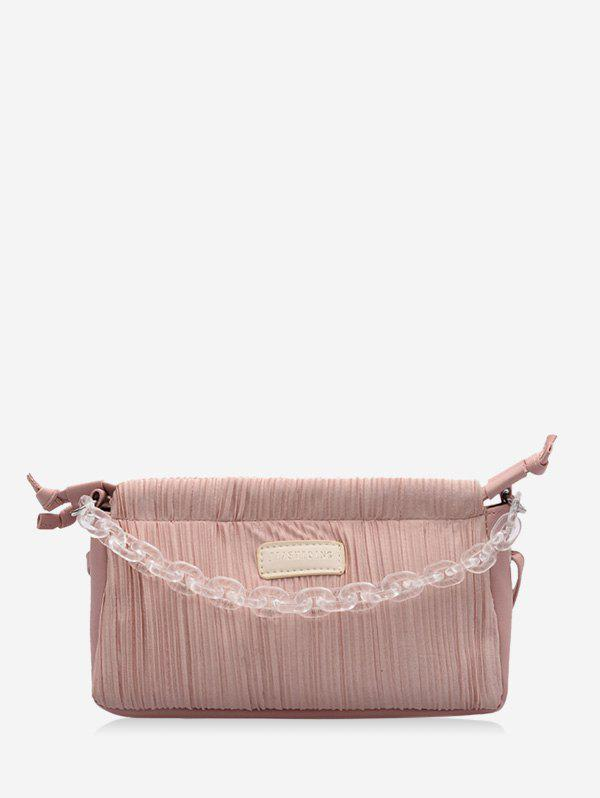 Chain Pleated Rectangle Shoulder Bag - PIG PINK