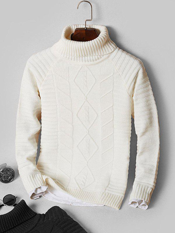 Solid Turtleneck Cable Knit Sweater - WHITE S