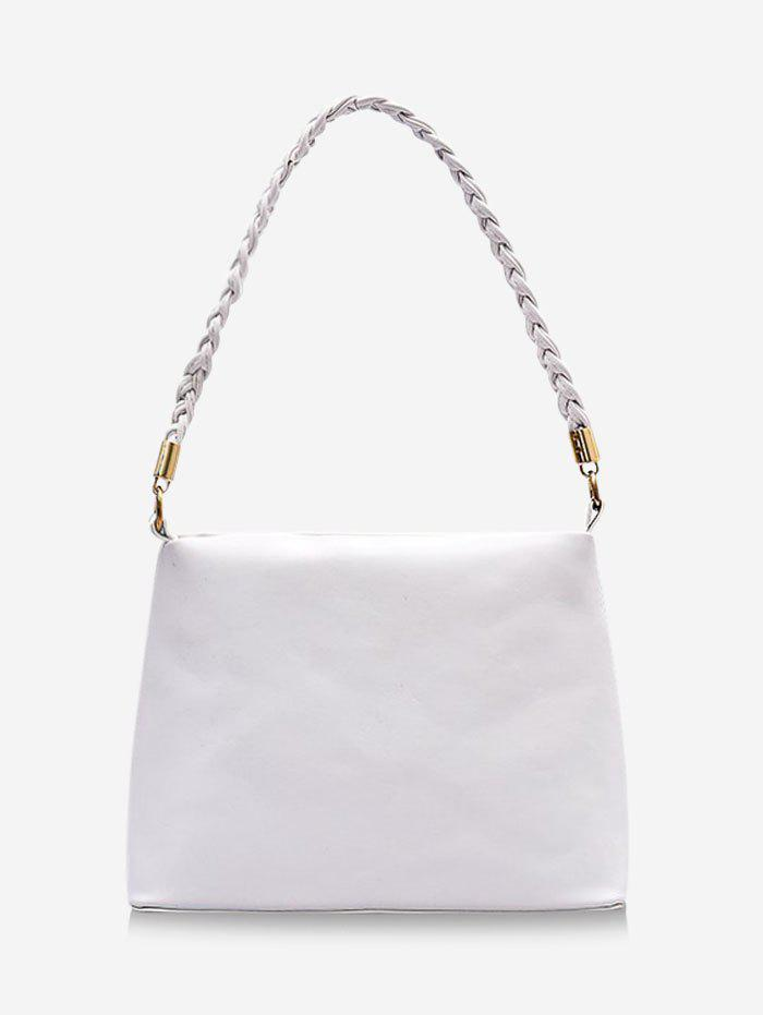 Brief Braided Strap Square Handbag - MILK WHITE