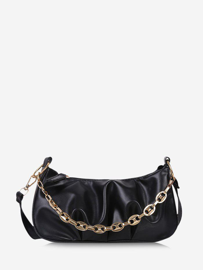 Retro Pleated Chain Shoulder Bag - BLACK