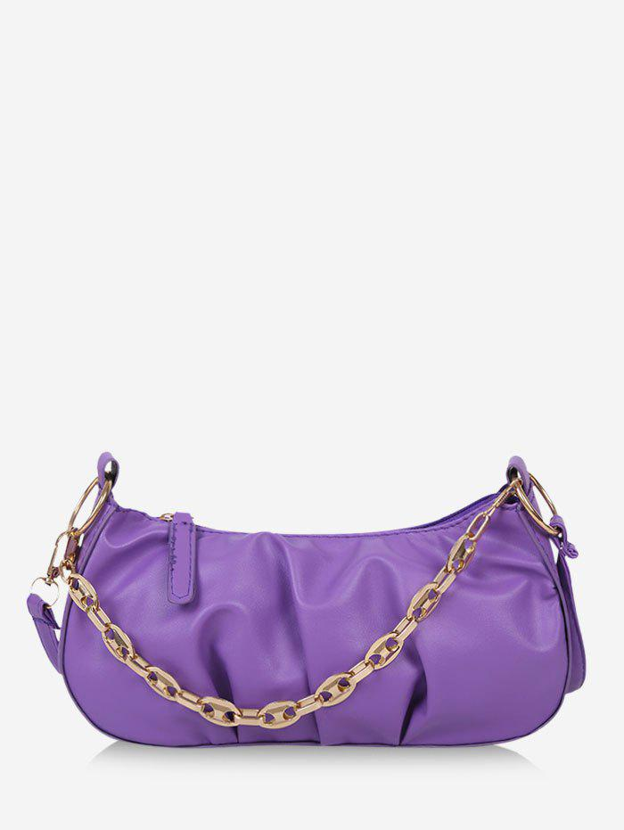 Retro Pleated Chain Shoulder Bag - JASMINE PURPLE