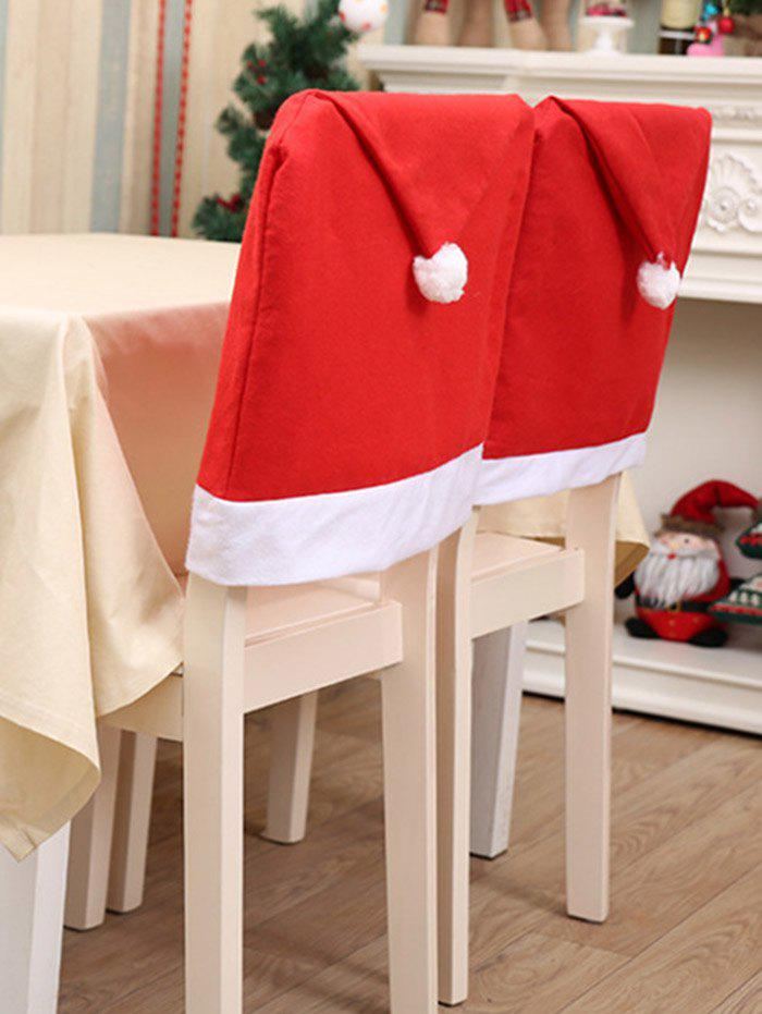 Christmas Hat Shape Fuzzy Chair Back Cover - RED