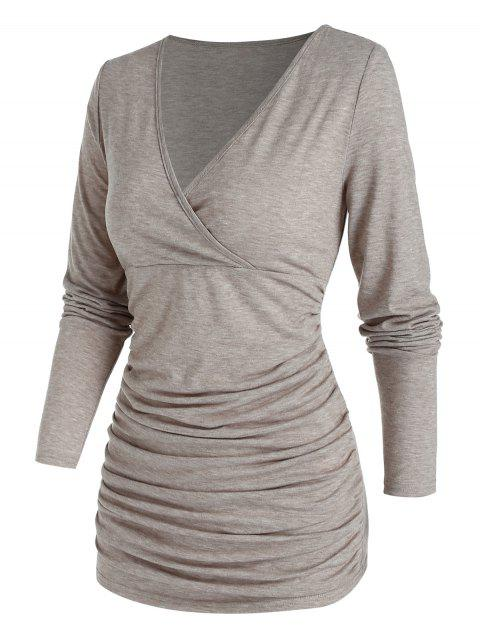 Ruched Surplice Solid T Shirt