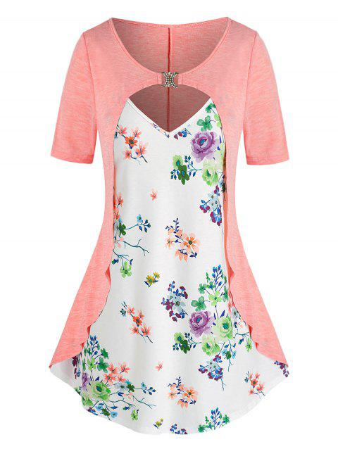 Plus Size Cutout Flower Print D Rings 2 in 1 T Shirt