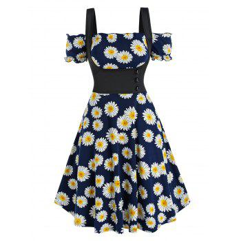Daisy Print Off The Shoulder Dress and Top Twinset