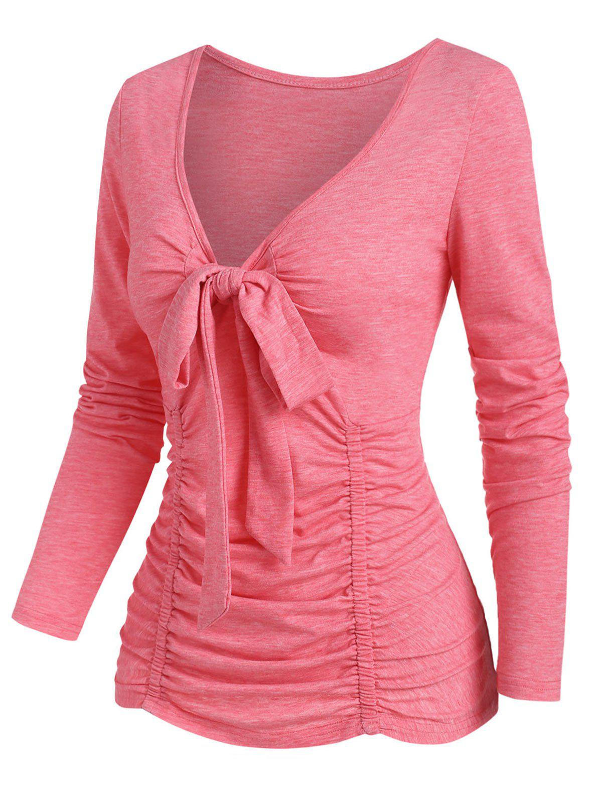 Bowknot Plunging Ruched T Shirt - LIGHT PINK L