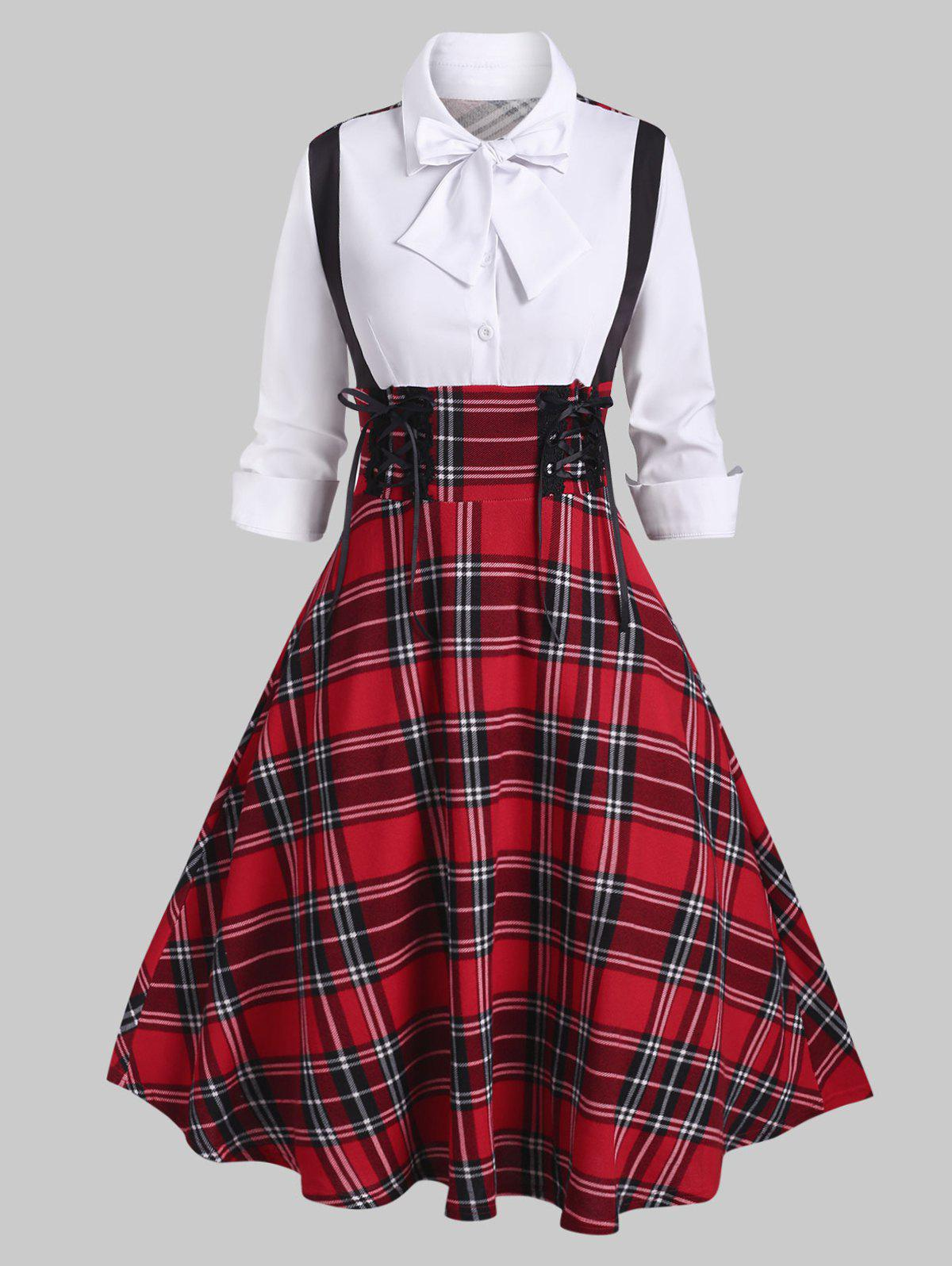 Plaid Lace Up Bowknot Half Button Dress - RED S
