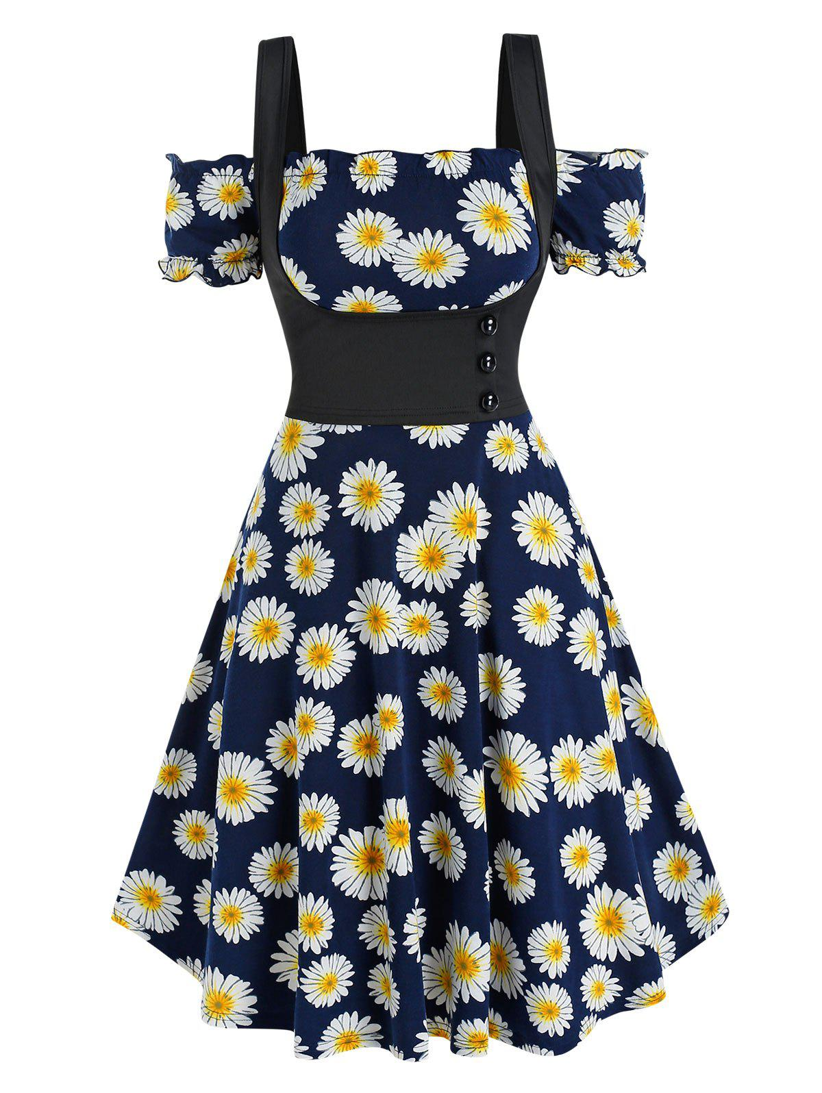 Daisy Print Off The Shoulder Dress and Top Twinset - DEEP BLUE 2XL