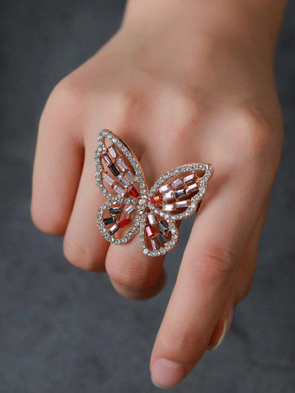 Butterfly Hollow Out Rhinestone Open Ring - multicolor A