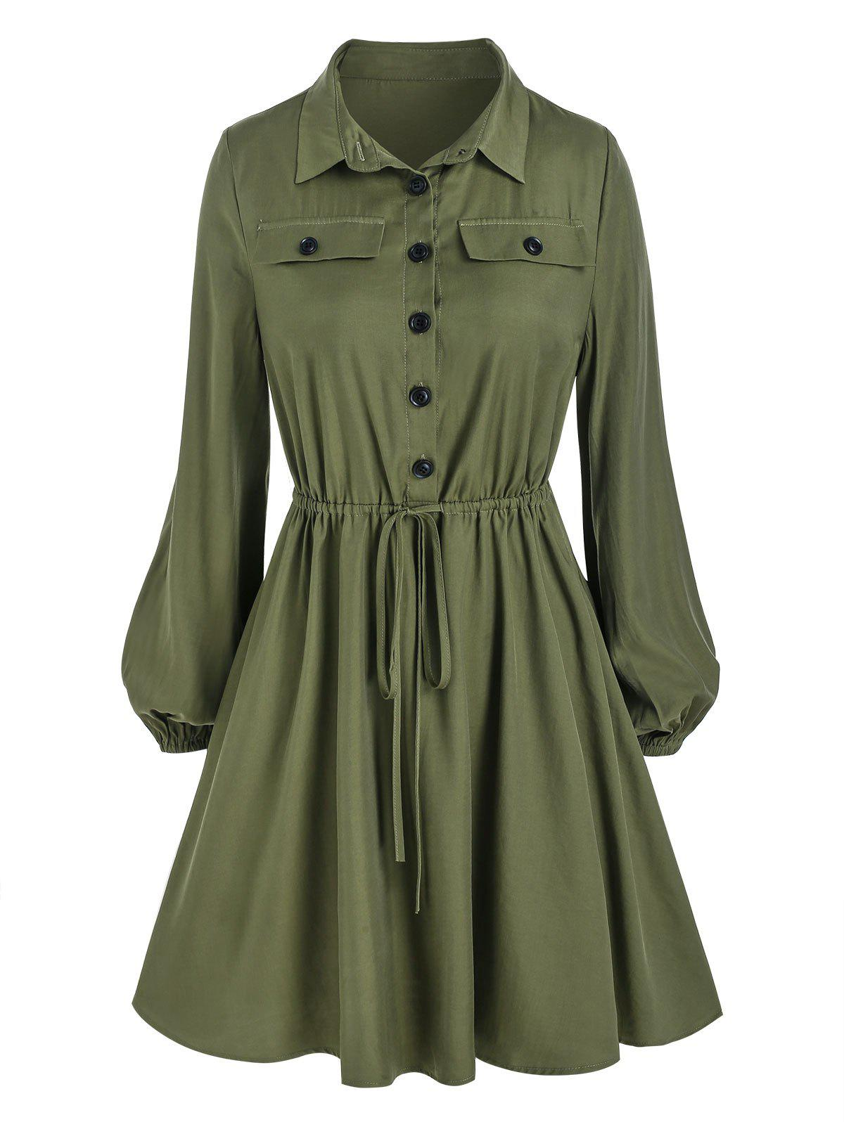 Half Button Drawstring Lantern Sleeve Mini Dress - DEEP GREEN 3XL