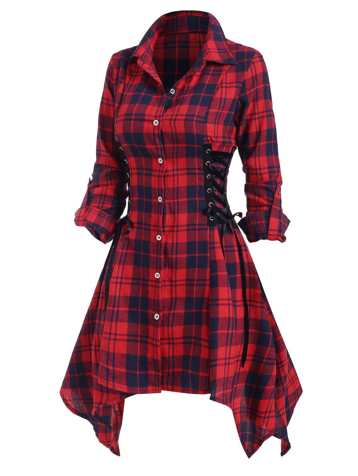 Plaid Lace Up Rolled Up Sleeve Handkerchief Shirt Dress - RED S