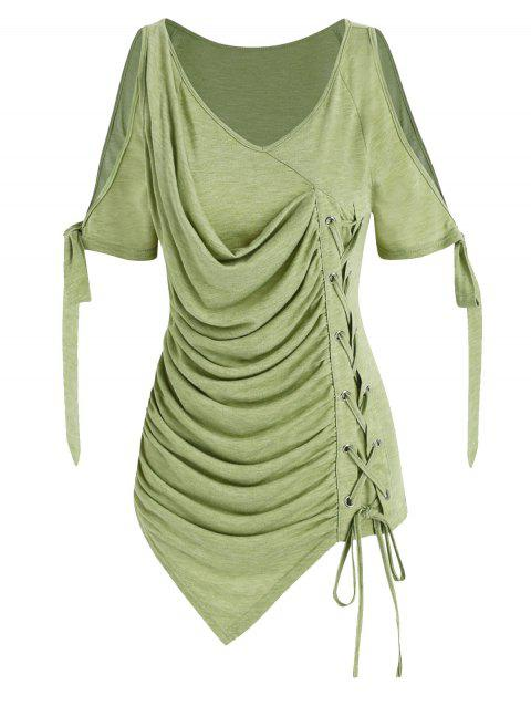 Cold Shoulder Lace-up Ruched Asymmetrical T-shirt