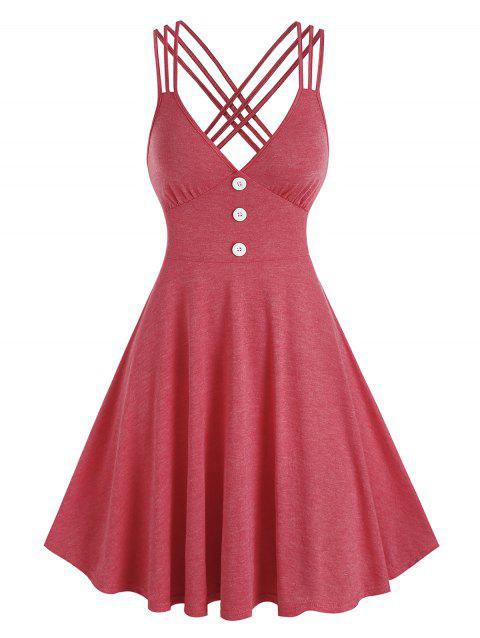 Mock Button Strappy Heathered Dress