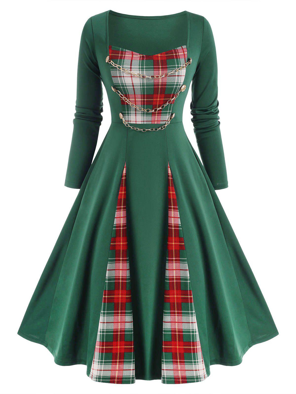 Checked Panel Chains Embellish A Line Dress - DEEP GREEN M