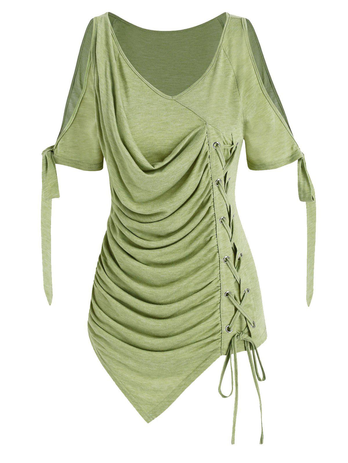 Cold Shoulder Lace-up Ruched Asymmetrical T-shirt - LIGHT GREEN 3XL
