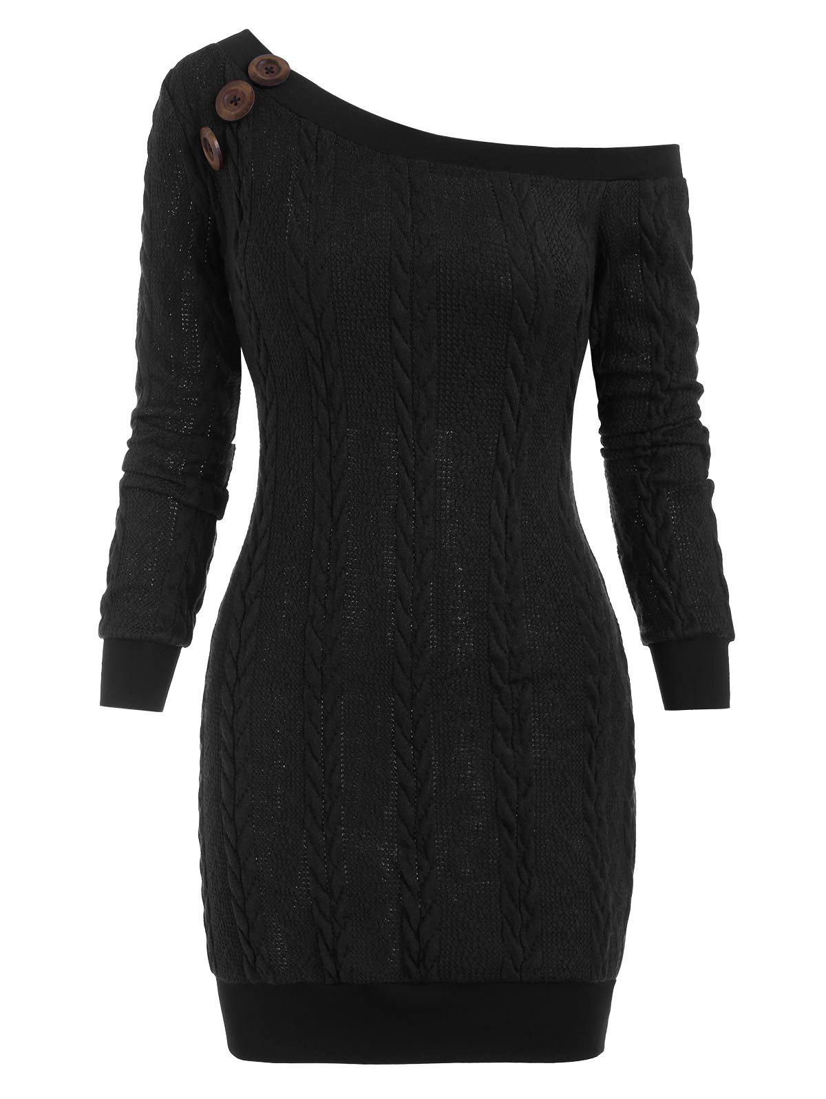 Skew Neck Cable Knit Mini Sweater Dress - BLACK S