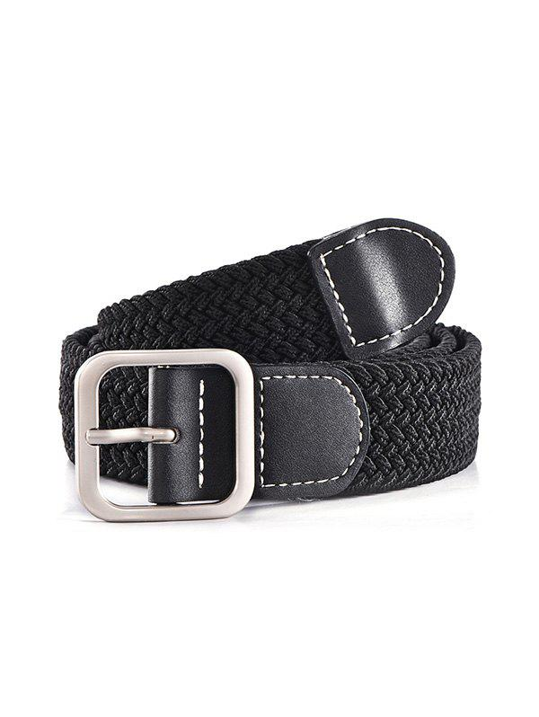 Casual Square Pin Buckle Woven Belt - BLACK