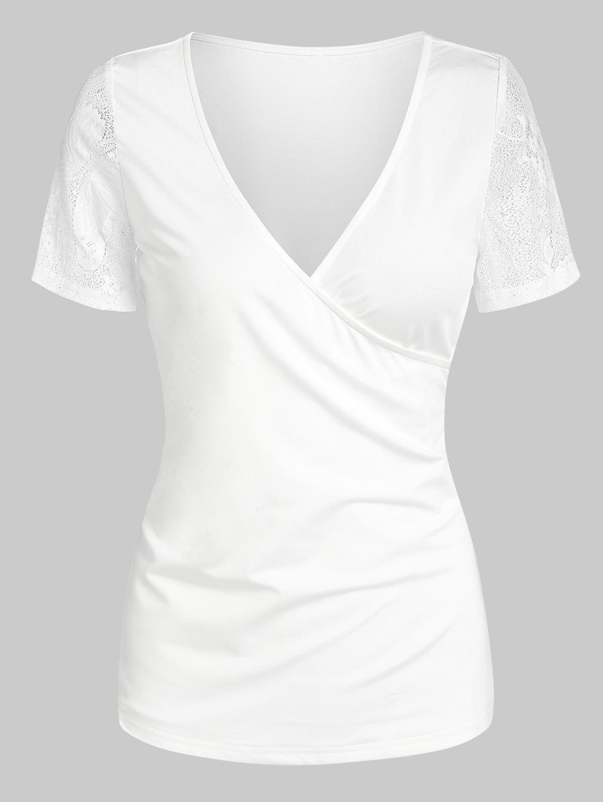V Neck Lace Insert Surplice T-shirt - WHITE XXL