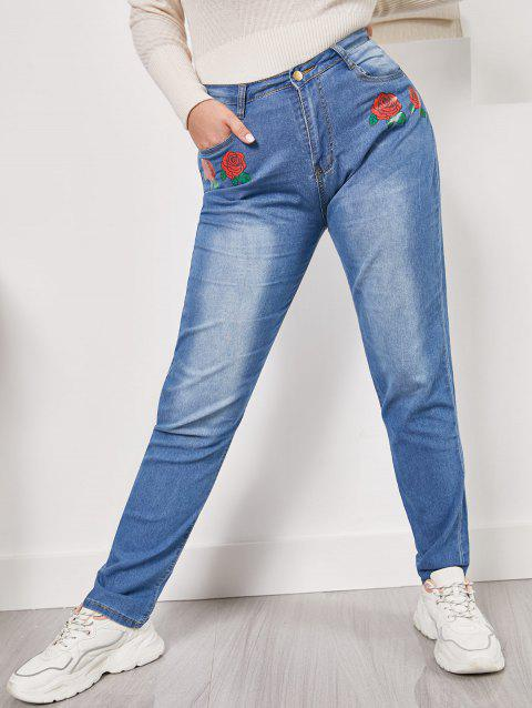 Rose Flower Mid Rise Plus Size Skinny Jeans