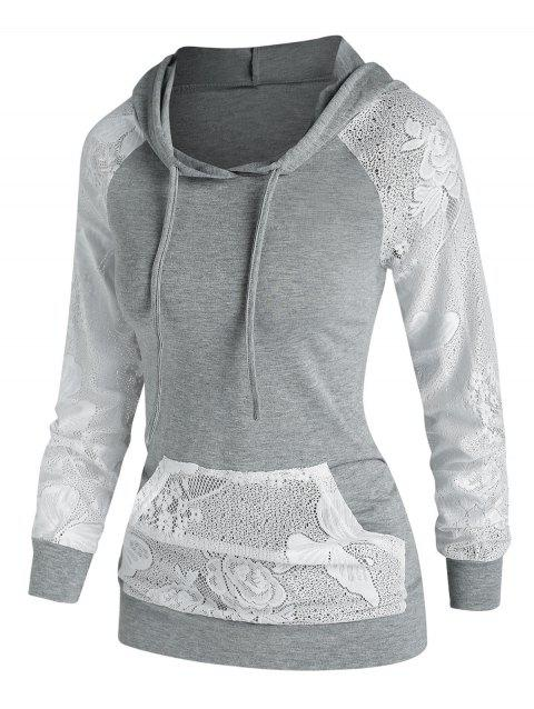 Flower Lace Panel Pocket Casual Hoodie