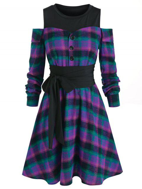 Plaid Open Shoulder Knee Length Dress
