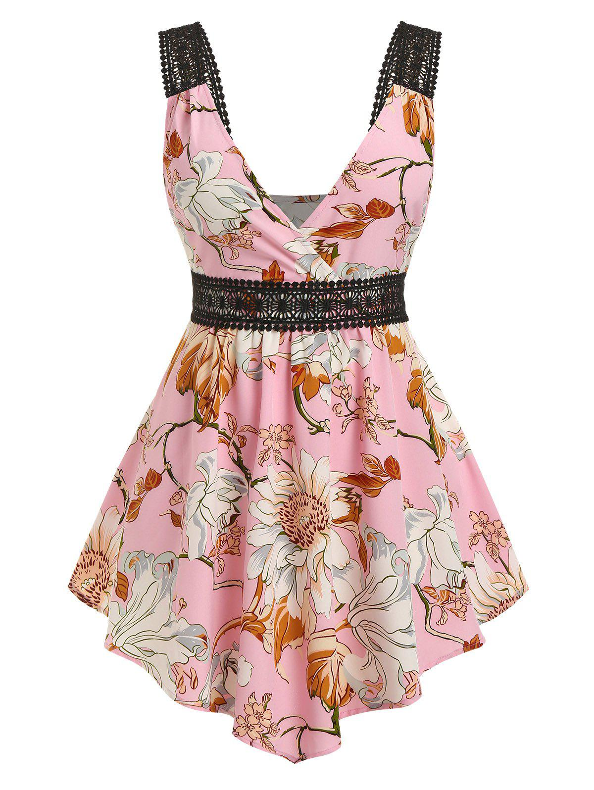 Plus Size Flower Guipure Lace Insert Backless Tank Top - PINK 5X
