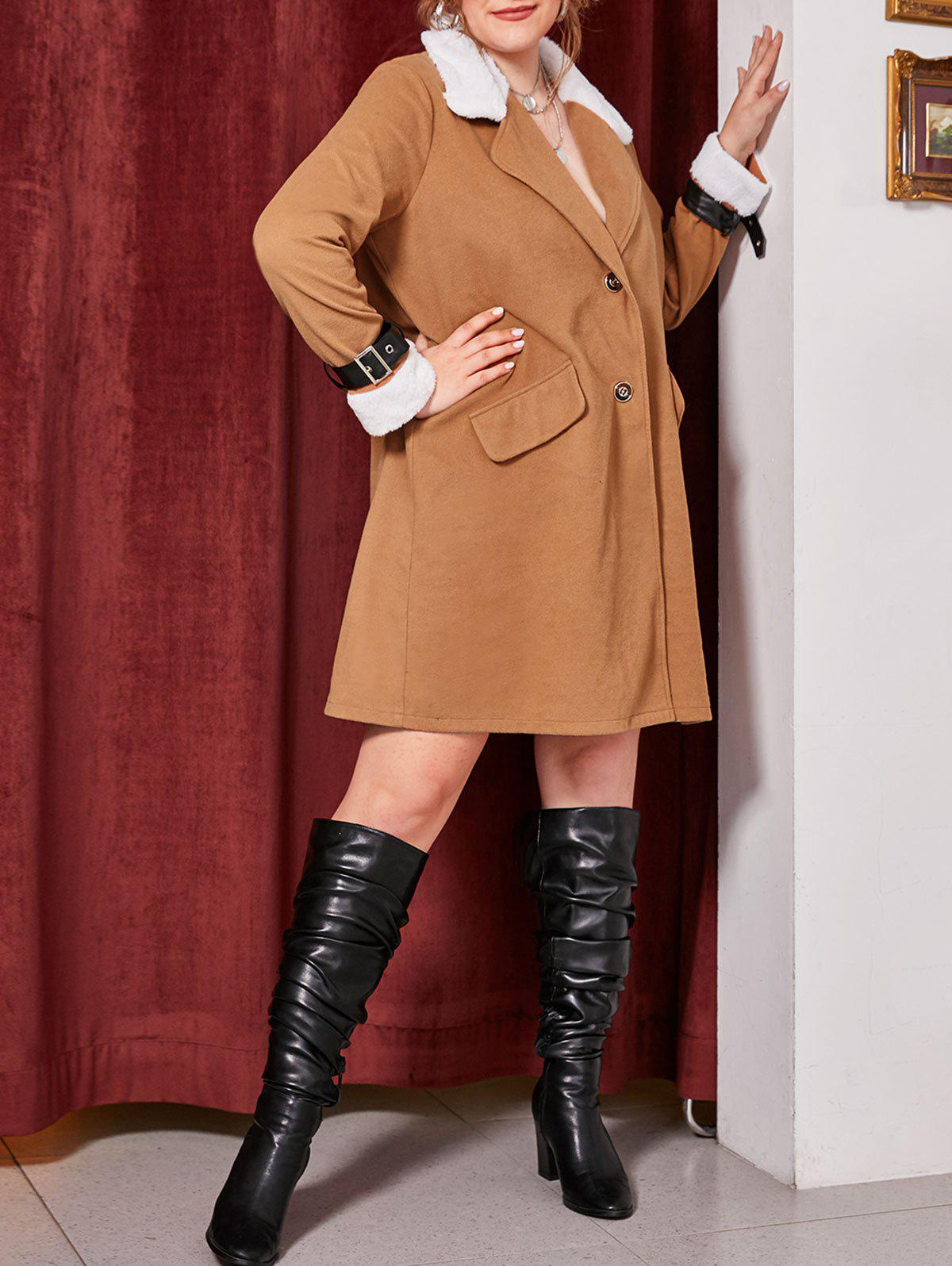 Plus Size Faux Fur Collar Belted Cuff Two Button Coat - DARK GOLDENROD 4X