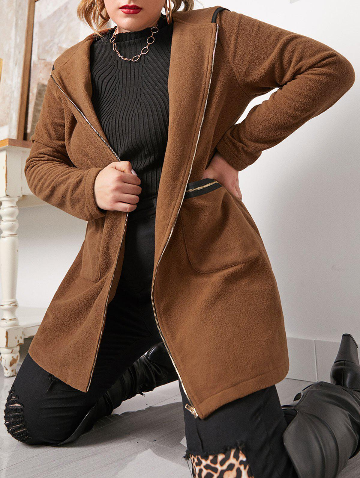 Plus Size Hooded Piping Zip Up Pocket Coat - BROWN BEAR 1X