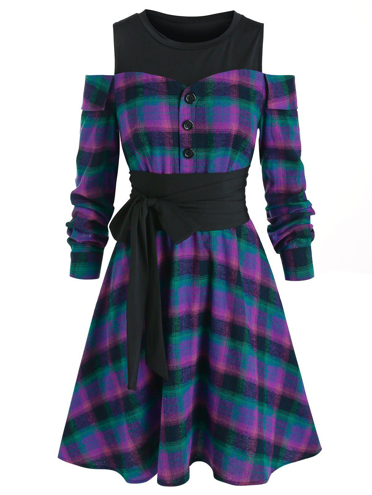 Plaid Open Shoulder Knee Length Dress - multicolor XL
