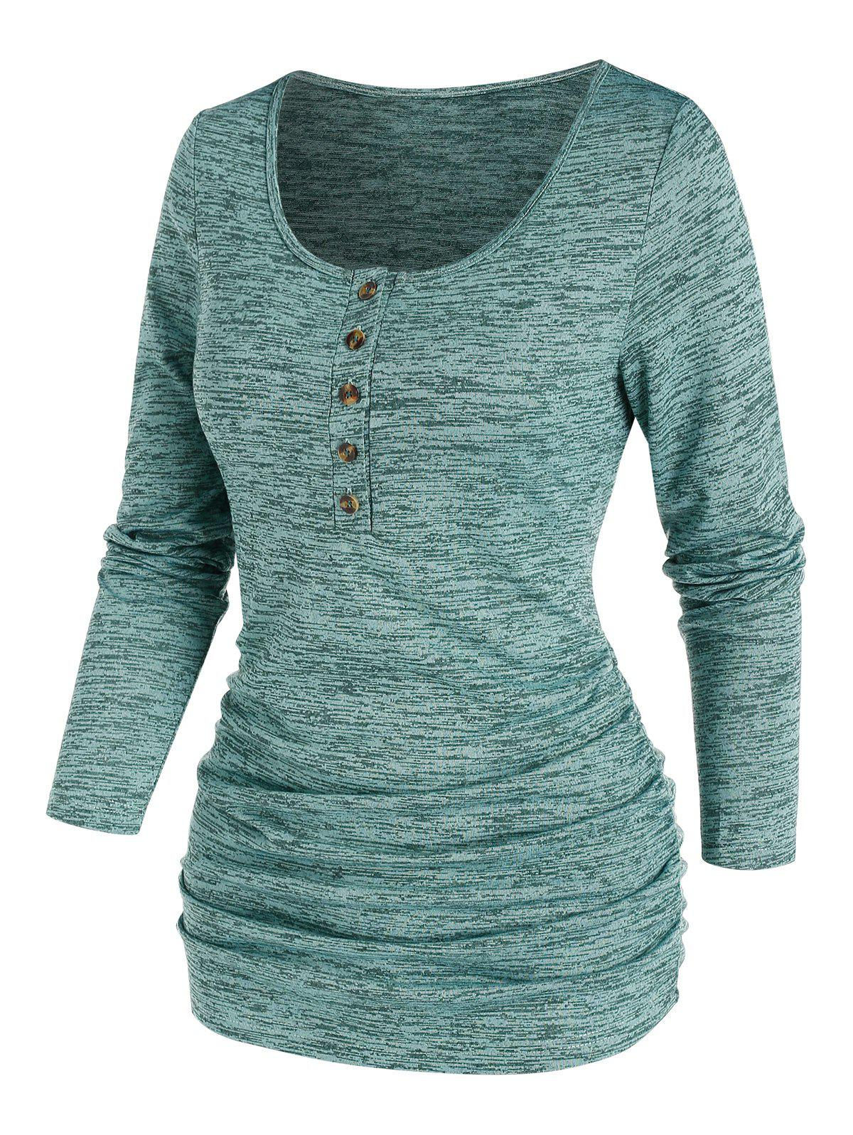 Ruched Heathered Henley T-shirt - GREEN XL