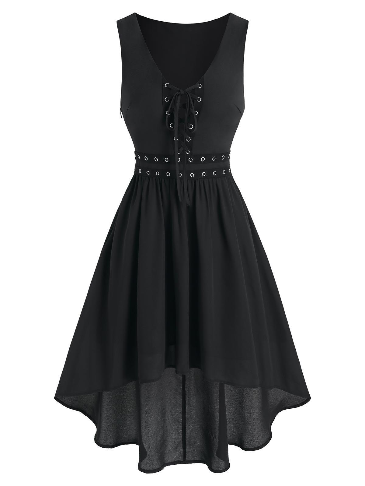 Grommet Lace Up High Low A Line Dress - BLACK 2XL