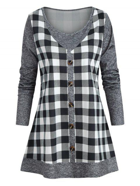Plus Size Checked Marled T Shirt