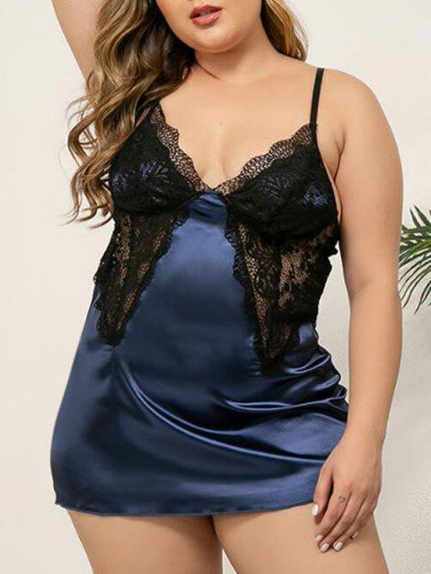 Plus Size Lace Insert Satin Mini Lingerie Dress