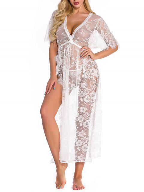 Lace High Slit Lingerie Gown