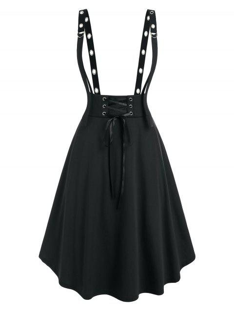 Plus Size Lace Up Grommet D Ring Suspender Skirt