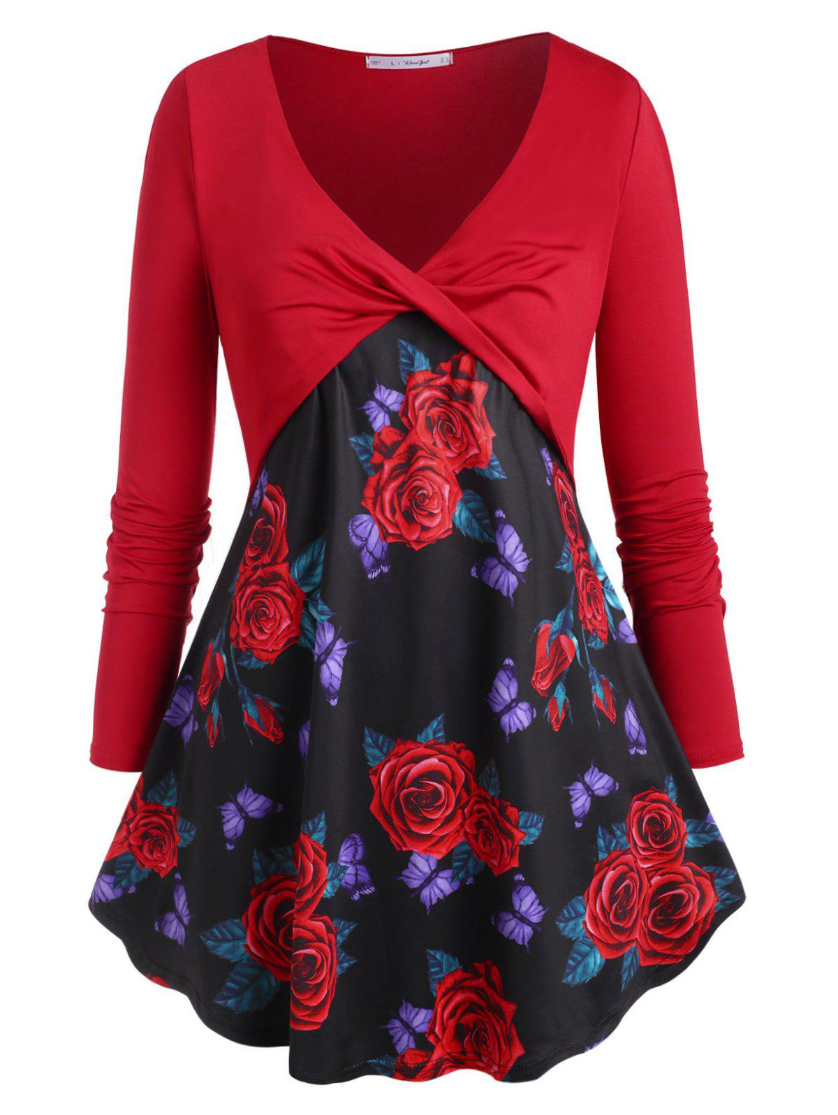 Rose Butterfly Twisted Front Plus Size Top - RED 5X