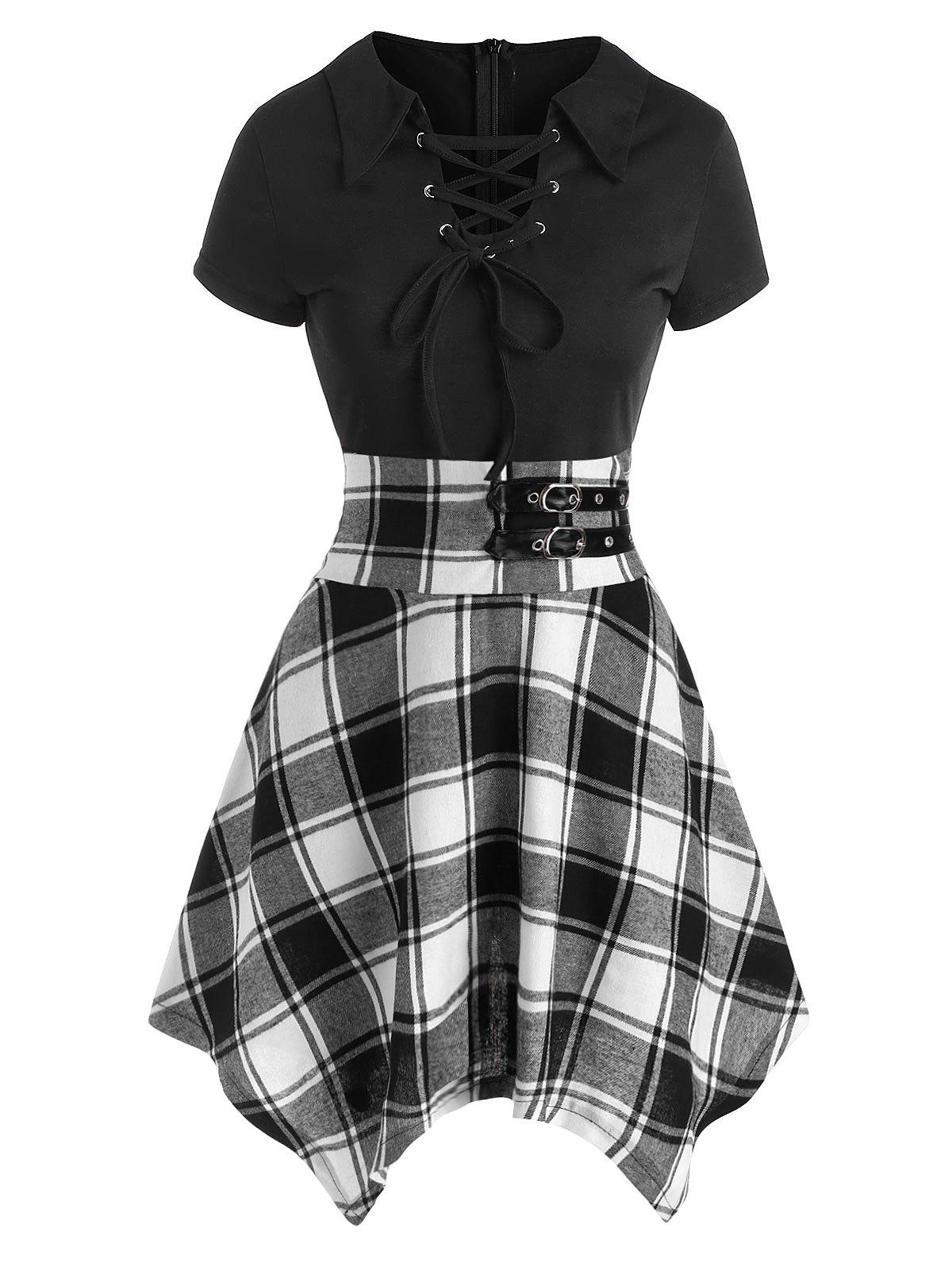 Plaid Lace Up Buckle Embellished Handkerchief Dress - BLACK 2XL